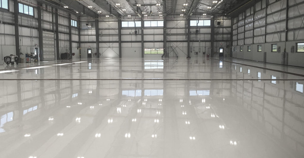 The inside of an airport hanger.