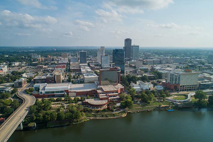 An aerial view of Little Rock